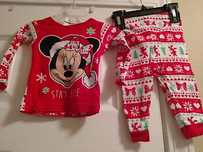 new disney baby minnie mouse christmas holiday girls pajamas size 12 months 2 pc