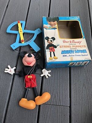 DISNEY VINTAGE 1970's MICKEY MOUSE STRING PUPPET JAYMAR SPECIALTY AND BOX
