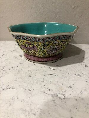 Vintage Chinese Hand Painted Porcelain Bowl