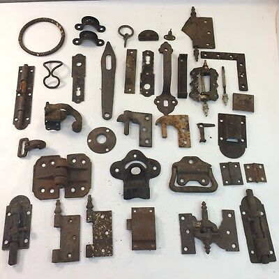 Antique Vintage Lot Of Hardware Hinges Latches Pulls