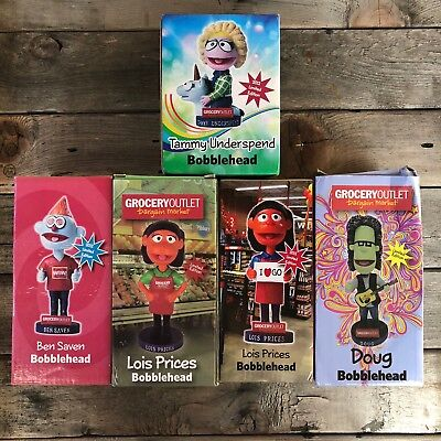 GROCERY OUTLET 2012 Limited Edition Bobbleheads Lot of 5 bobble heads Collectors