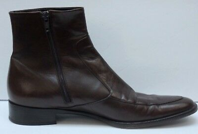 fc630a848bb9 Helmut Lang Womens Brown Leather Ankle Boots Side Zip Booties Italy Size 38 US  8