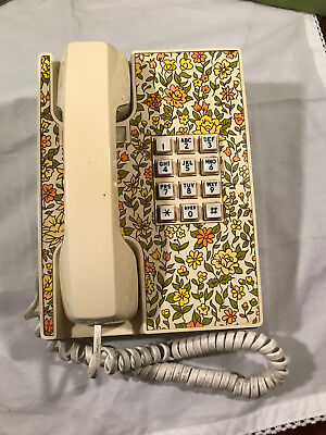 Vintage Telephone late '60's - early '70's mod with flower pattern decor