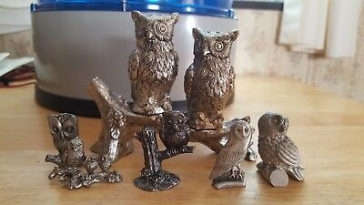 Lot of 6 Pewter & Metal Owl Figurines