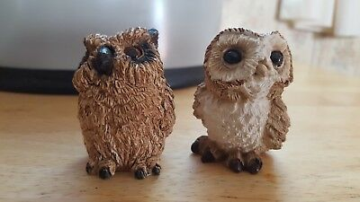 Lot of 2 Stone Critters Littles Owl Barn & Owl Horned Figurines