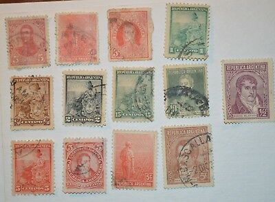 Very Rare Antique/Vintage Lot Of 7 Argentinian Stamps Early 1900's - No Reserve