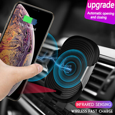USB Qi Wireless Car Charger Mount Holder For iPhone XS X Samsung Galalxy S9 Note