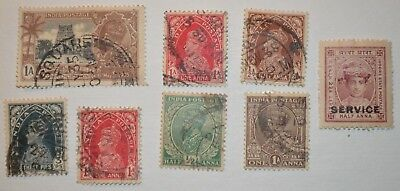 Very Rare Antique/Vintage Lot Of 8 Inidan Stamps Early 1900's - No Reserve