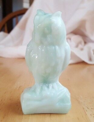 Boyd Diamond Marked Green Slag Glass Owl Figurine