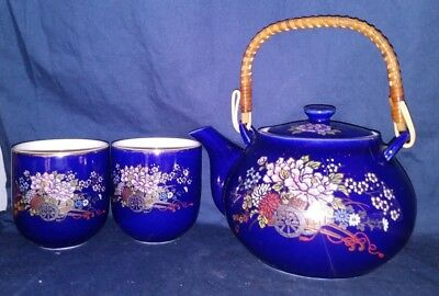 Vintage Kutani Cobalt Blue 3 Piece Tea Set, Gold Gilding and Pink Peony Flowers