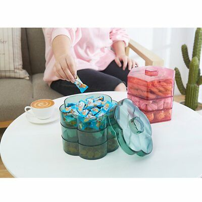 Multi-Layer Plastic Dried Fruit Plate With Lid Household Grid Snack PlateQJ