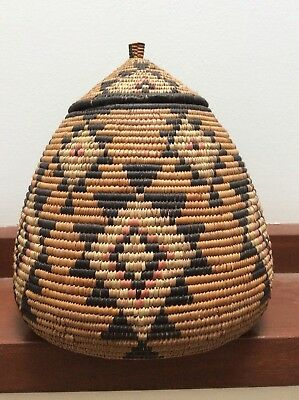 Zulu Hand Woven Tribal Wedding Basket With Authenticity Tag