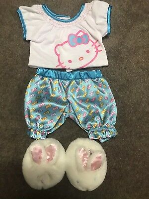 Build A Bear outfit Pjs Hello Kitty T Shirt And Pants Bunny Rabbit Slippers