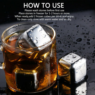 Pack of 4 Stainless Steel Chilling Reusable Ice Cubes for Whiskey Wine QJ