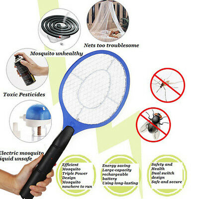 Electric Bug Zapper Racket Mosquito Fly Swatter Killer Insects Bat Handheld RM6