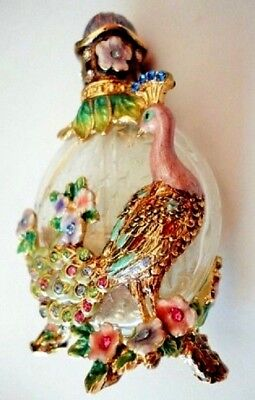 Peacock Perfume Bottle art glass vanity collectible Swarovski crystals enamel