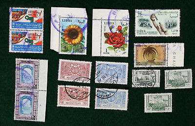 15 Libyan Pre 1970 Used Stamps Incl Timbre Fiscal