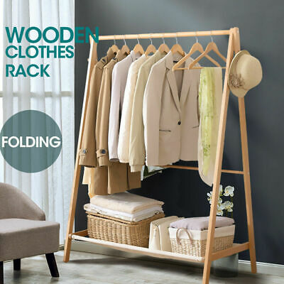 New Wooden Garment Coat Clothes Stand Rack Hat Jacket Bag Shoe Hanger Holder