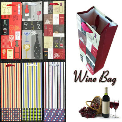 AU 10X Wine Champagne Bottle Bags Paper Handle Gift wrapping Bag Holidays Party