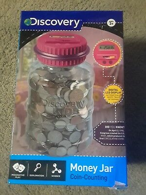 NEW Discovery Kids Digital Money Jar Coin Counting Piggy Bank LCD Sceen