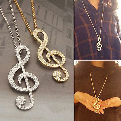 1Pc Women Music Note Treble Clef Pendant Charm Long Chain Sweater Necklace Chain