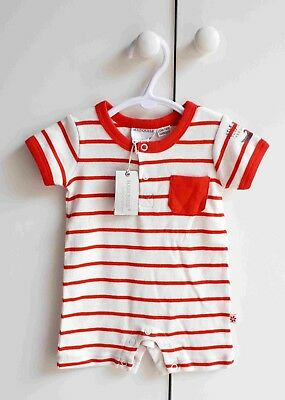 Baby Boy MARQUISE Red Striped SS Romper - Size 000 BNWT