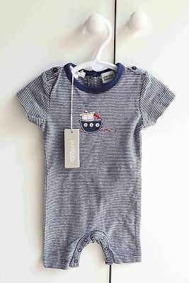 Baby Boy PUREBABY Navy Striped SS Romper Growsuit with Epaulets - Size 000 BNWT
