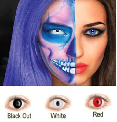 Halloween zombie red black contacts lenses fancy color, cosplay party  costumes