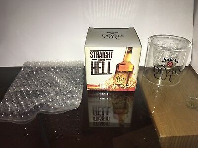 "COLLECTABLE Rare Jim Beam Devil's Cut  "" Straight from Hell "" Skull Shot Glass"