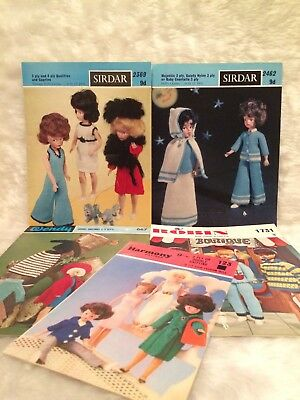 "Vintage 12"" Fashion Doll Outfits Knitting Pattern Lot Bundle Barbie Sindy Sirdar"