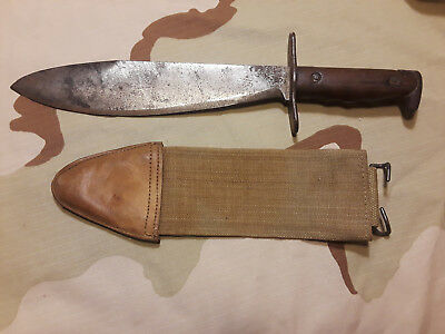 U.s Army Ww1 1912 Springfield Bolo Knife With Canvas Scabbard Cover