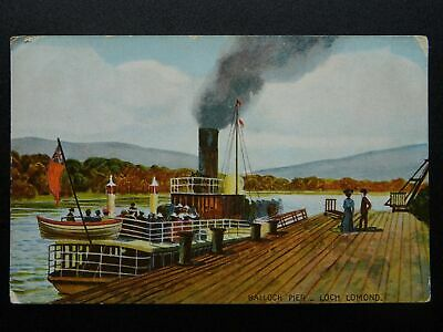 Scotland LOCH LOMOND Balloch Pier & Steam Boat c1905 Postcard by Stewart & Woolf