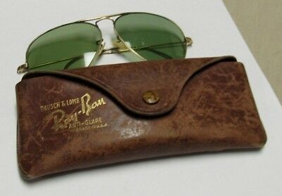 Vintage Early Ray-Bans Sunglasses Aviator Gold Filled With Leather Case