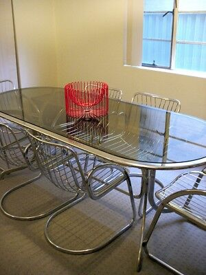 Mid Century Mod Vintage Chrome Dining Table + 6 Cantilever Chairs : : Stunning