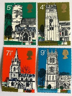 Four Mint Unmounted 1972 Village Churches Decimal Stamps ALL PHOSPOR OMITTED