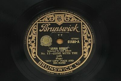 """78 RPM 10"""": Hot Lips Page - Gone With The Gin / Call Of The Wild Brunswick 03480"""