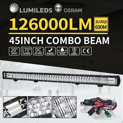 45inch LED Light Bar Spot Flood Offroad Work Driving Osram Lamp 4WD 4x4