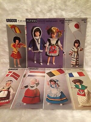 Vintage 9 12 Inch Doll Knitting Pattern Lot Bundle National Outfits Barbie Sindy