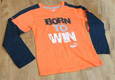 PUMA Little Boys' Long Sleeve Tee, Orange/Charcoal, Size 4T