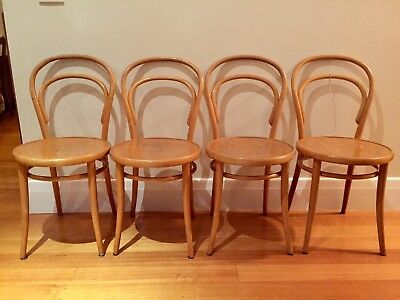 4 vintage bentwood European wooden dinning chairs