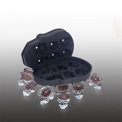 3D Ice Cube Mold Skull Shape Maker Bar Party Silicone Trays Chocolate Mould  DM