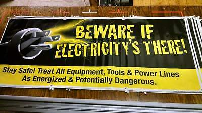 """BEWARE ELECTRICITY Safety Sign Banners OUTDOOR 5 ea (50""""x120) HARKINS SAFETY"""