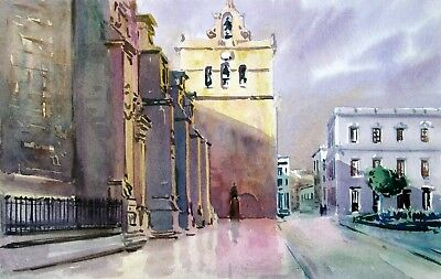 CATEDRAL ALMERIA   ACUARELA Original-watercolor 19x30 cm - VERGEL