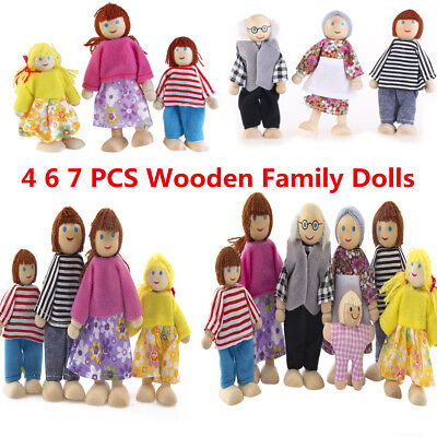 Wooden Family Dolls Cute House People Set Kids Children Pretend Role Play 4/6/7X
