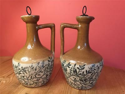 LA116 Rare Vintage Pair of H Kennedy Mead  Whiskey Jugs with Stoppers Glasgow