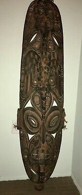 ANTIQUE TALL ANCESTOR SPIRIT CARVED WOOD & SHELLS MASK NEW GUINEA PAPUA 5' Tall