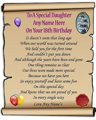 PERSONALISED PHOTO & Name Daughter 18th Birthday Poem Laminated 10x8 Gift  P32