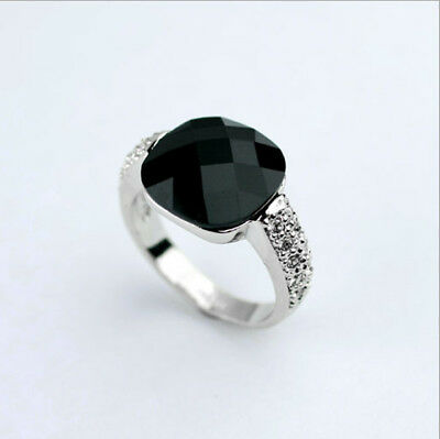 ITALINA Wedding Engagement Black Agate 18k white gold men's ring size 8