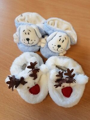 2 Pairs of Mixed Sized Baby Girls Boys Christmas Reindeer and Dog Slippers