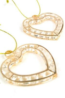 Hanging Hearts Set of 2 Gold Metal Hanging Hearts with Crystal Cut Glass Stones